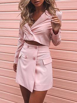 Minimalist Button Up Crop Blush Women Suits