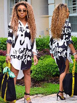 Contrast Color Letter Long Shirt For Women
