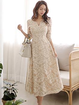 Elegant V Neck Fitted Long Sleeve Evening Dress