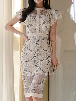 Stylish Crew Neck Print Ruffled Sleeve Fitted Dress