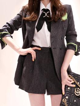 Korean Design Double-breasted Lapel Blazer Sets