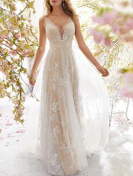 V Neck Backless Sexy White Long Formal Dress
