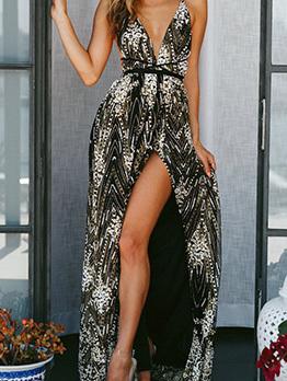 V Neck Backless Sexy Maxi Evening Dress
