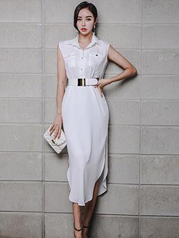 Stylish Turndown Collar White Sleeveless Pencil Dress
