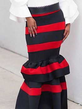 Euro Color Block Fishtail Tiered Black Long Skirt