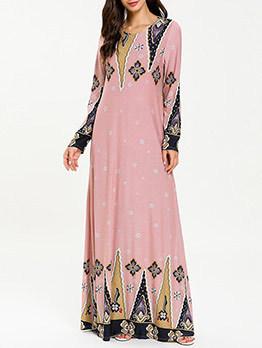 Stitching Print Long Sleeve Blush Maxi Dress