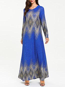 Retro Muslim Print Shiny Studded Maxi Dress