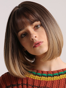 Daily Neat Bang Ombre Color Short Bob Synthetic Wigs