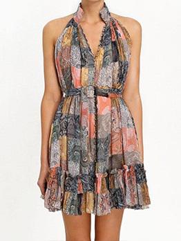 Boutique V Neck Print High Waist Sleeveless Dress