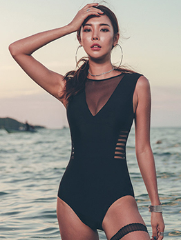 Sexy Patchwork Black One Piece Swimsuit