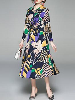 Contrast Color Printed Tie-Wrap Midi Dress