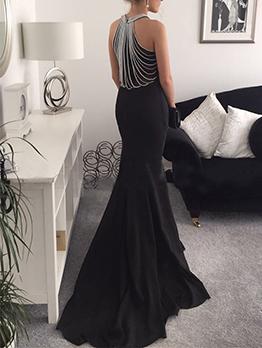 Euro Studded Fishtail Floor Length Black Dresses