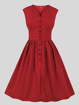 V-Neck Smart Waist Ruched Dots Sleeveless Burgundy Dresses