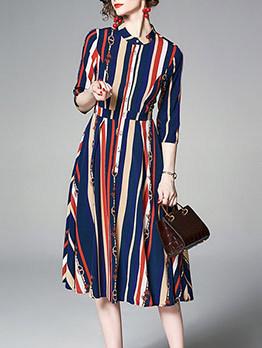 Stand Collar Striped Print Half Sleeve Dress