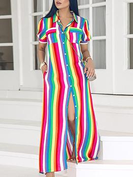 European Style Colorful Striped Button Through Dresses