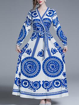 V-Neck Printing Binding Bow Blue Maxi Dresses