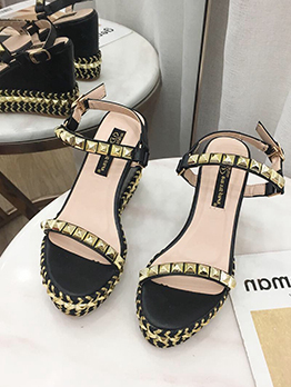 Round Toe Rivets Patchwork Women Wedge Sandals