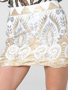 Vintage Style Sequined Female Mini Skirt