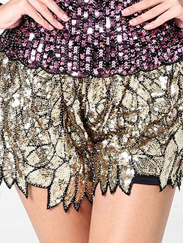 Stylish Sequined Irregular Wide Leg Golden Shorts