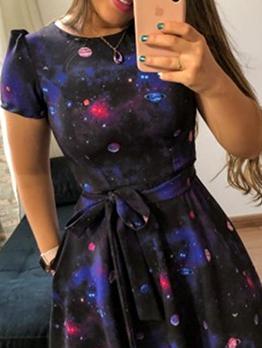 Crew Neck Stars Print Short Sleeve Dress