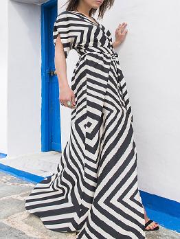 V Neck Geometric Print Big Swing Beach Maxi Dress