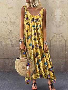 Hot Sale Loose Print Sleeveless Dress