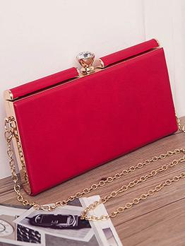 Simple Design Rhinestone Decor Clutch Bag