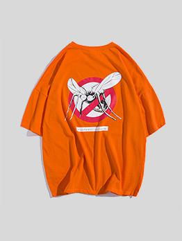Summer Crew Neck Mosquito Print T-shirt