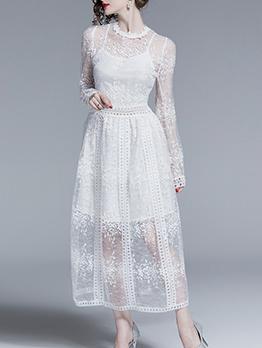 Elegant Crew Neck White Long Sleeve Lace Maxi Dress