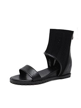 Roman Style Gauze Patchwork Women Casual Sandals