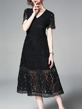 Elegant V Neck Big Swing Black Lace Dress