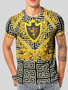 Crew Neck Geometric Print T-shirt For Men