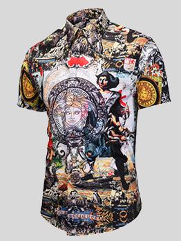 Turndown Collar Paint Printed Shirt For Men