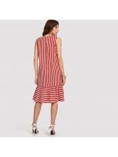 Fashion Large Hem Striped Sleeveless Dress