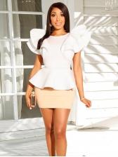 Irregular Ruffled Blouse With Mini Skirt For Women