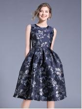 Jacquard Weave Sleeveless Knee Length Dress