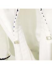 Fashionable Contrasting Colors Crop Women White Coat