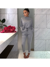Hot Sale Stand Neck Solid Fitted Women Outfits