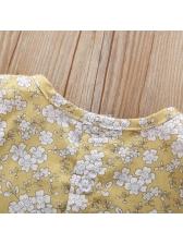 Round Collar Floral Ruffled Sleeve Girls Dress