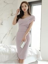 One Shoulder Draped Short Sleeve Bodycon Dress