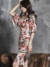 Tie-wrap V Neck Bodycon Floral Dresses