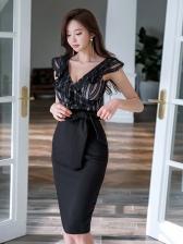 Sexy Lace Binding Bow V-Neck Slim Black Dresses