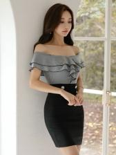 Sexy Off The Shoulder Ruffles Slim Gray Dresses