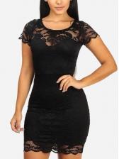 Crew Neck Perspective Black Lace Dresses