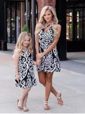 Vintage Print Criss Cross Sleeveless Dress Family Sets
