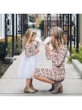 Stylish Plaid Patchwork Long Sleeve Dress Family Sets