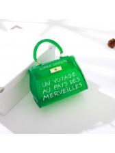 Casual Style Letter Transparent Handbag Mini Size