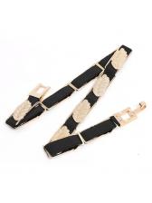 Metal Leaf Patchwork Women Skinny Belt