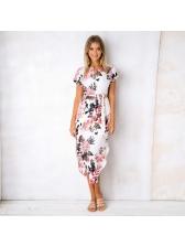 Spring Printed Binding Irregular Short Sleeve Dresses