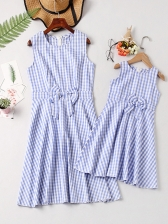 Mother Girl Plaid Binding Bow Sleeveless Dress